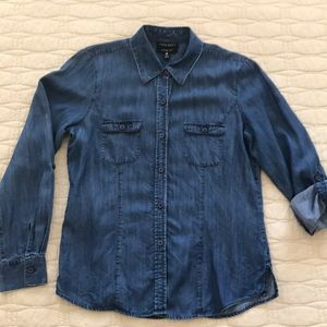Foxcroft fitted Tencel blue denim size 8